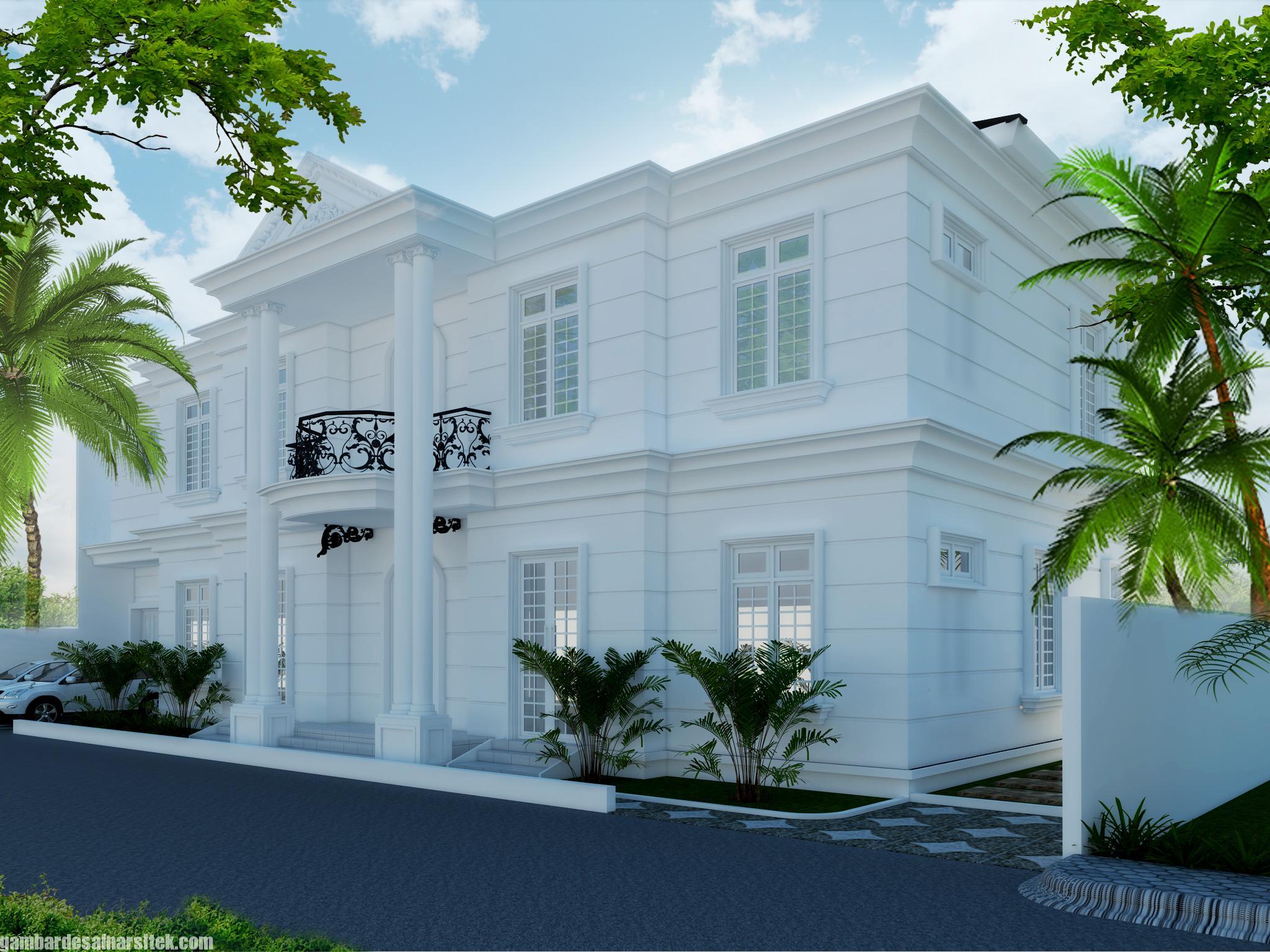 Desain Rumah Mediterania Mewah 2 Lantai