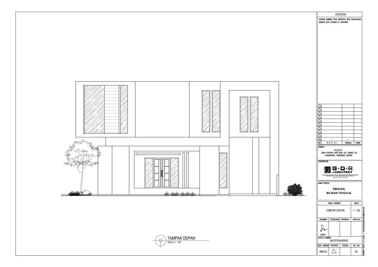 Jasa Desain Rumah Contoh Paket Gambar Kerja 04 TAMPAK DEPAN