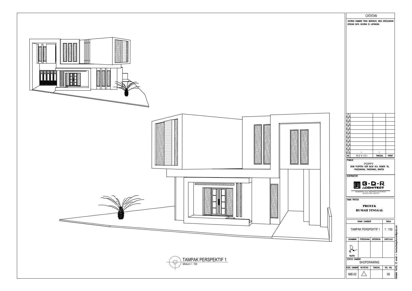 Jasa Desain Rumah Contoh Paket Gambar Kerja 08 TAMPAK PERPEKTIF 1