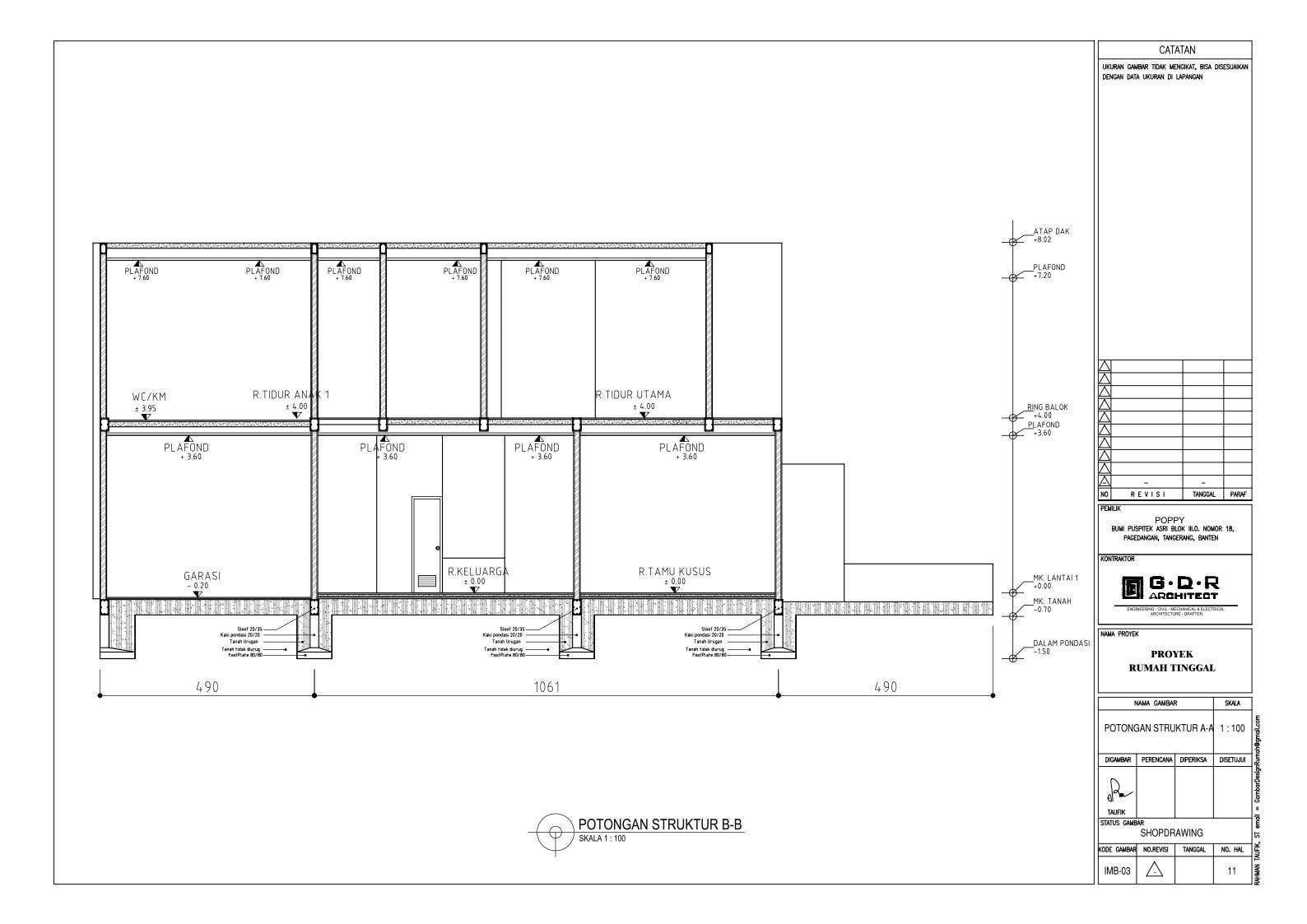 Jasa Desain Rumah Contoh Paket Gambar Kerja 11 POTONGAN STRUKTUR B-B