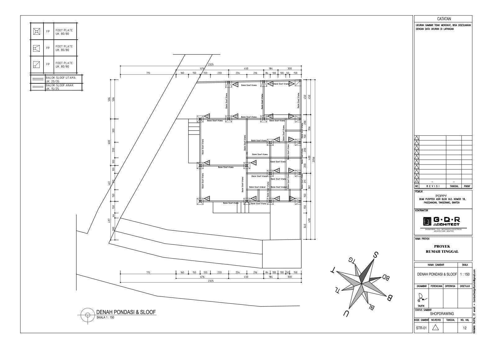 Jasa Desain Rumah Contoh Paket Gambar Kerja 12 DENAH PONDASI & SLOOF