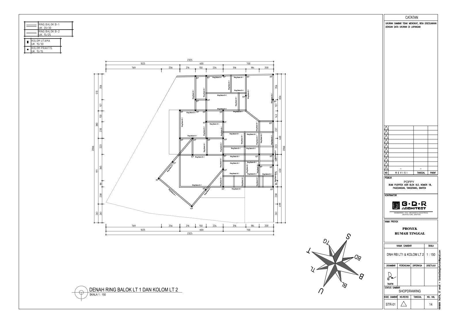 Jasa Desain Rumah Contoh Paket Gambar Kerja 14 DENAH RING BALOK LT 1 DAN KOLOM LT 2