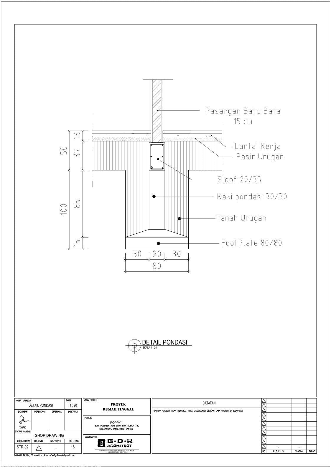 Jasa Desain Rumah Contoh Paket Gambar Kerja 16 DETAIL PONDASI