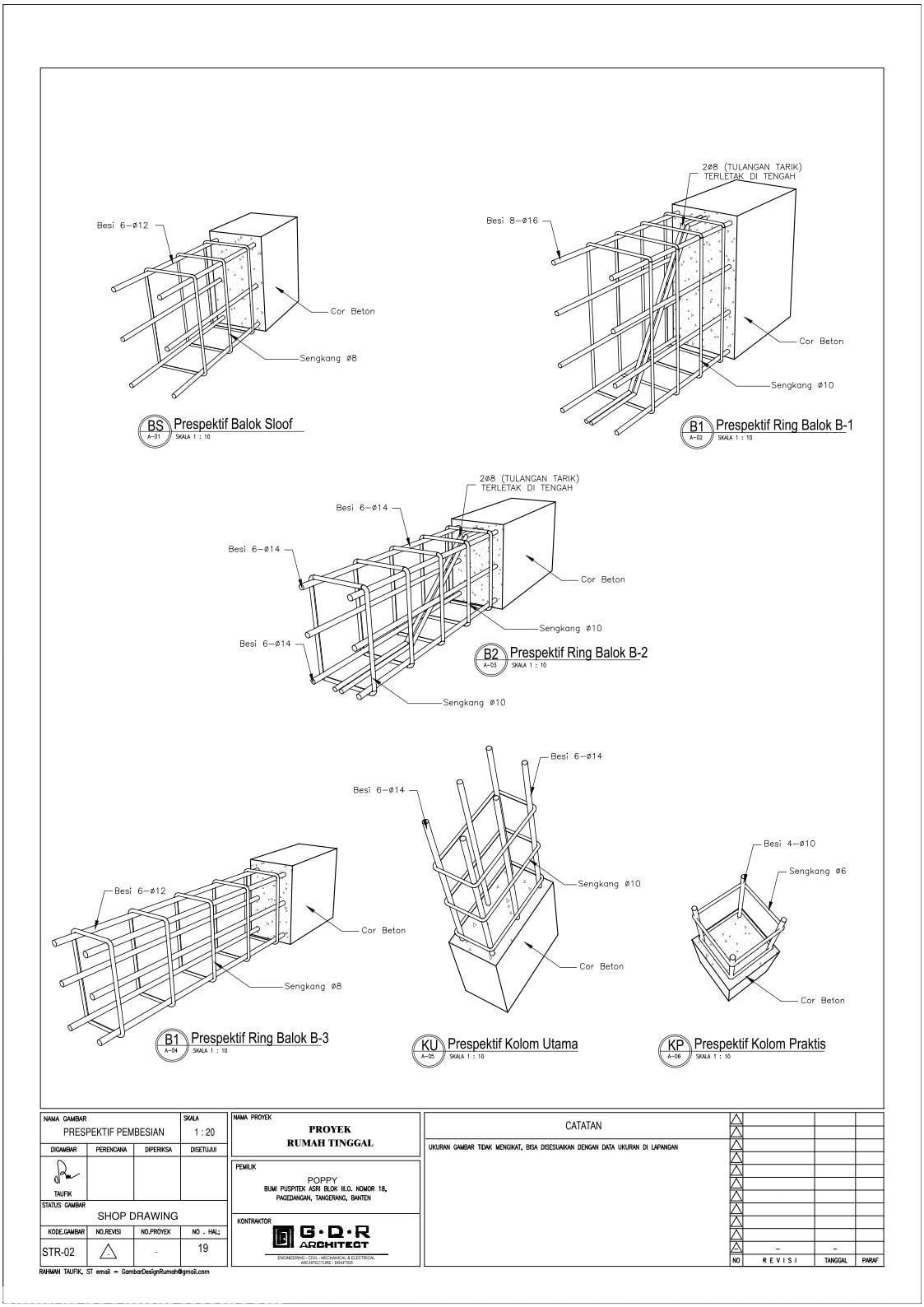 Jasa Desain Rumah Contoh Paket Gambar Kerja 19 PERSPEKTIF PEMBESIAN