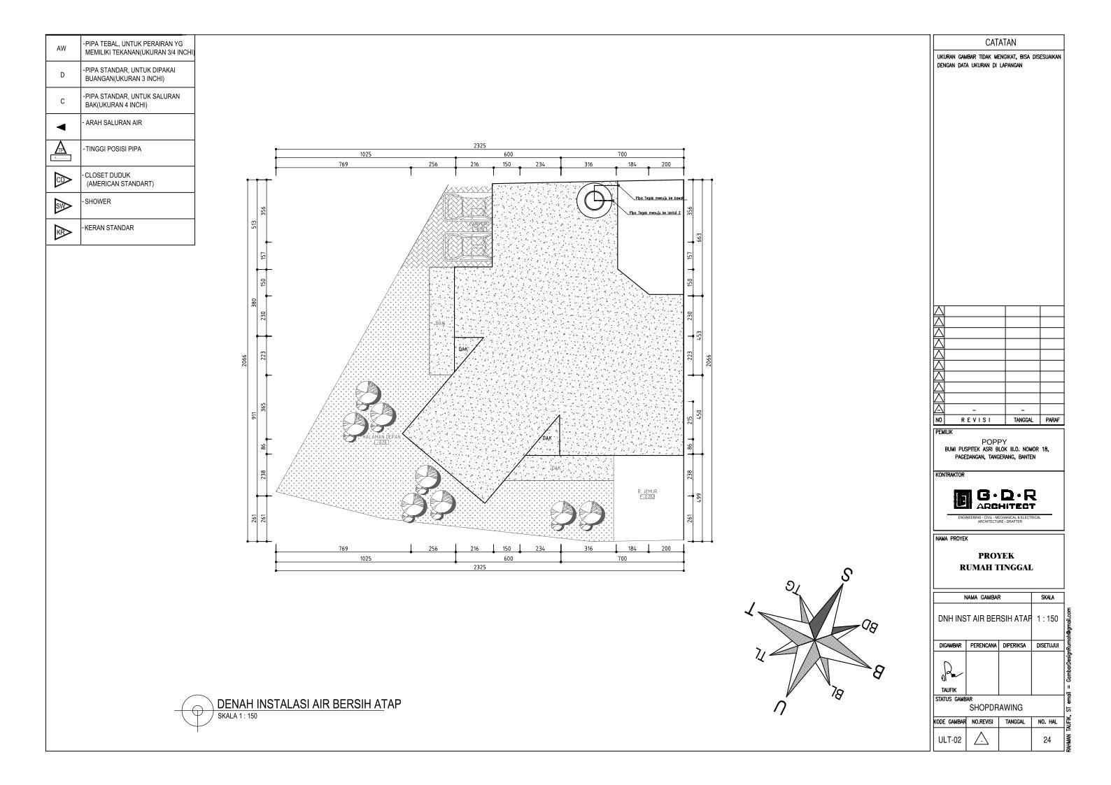 Jasa Desain Rumah Contoh Paket Gambar Kerja 24 DENAH INSTALASI AIR BERSIH ATAP