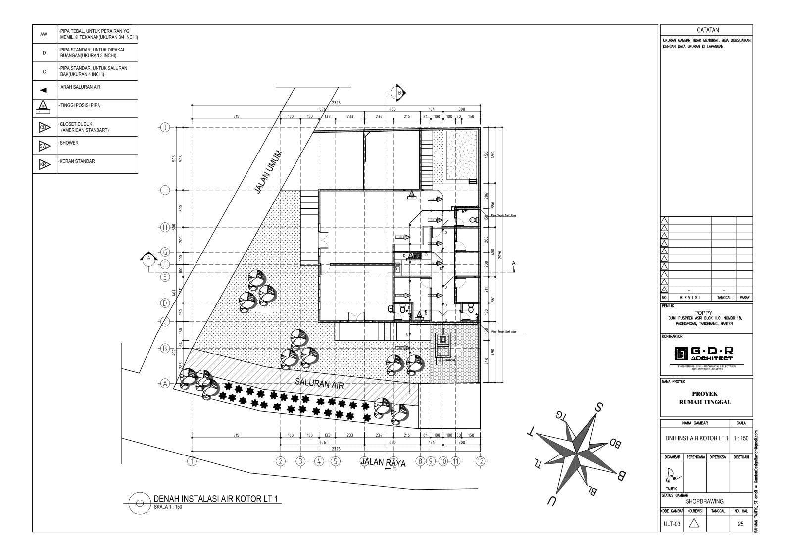 Jasa Desain Rumah Contoh Paket Gambar Kerja 25 DENAH INSTALASI AIR KOTOR LT 1