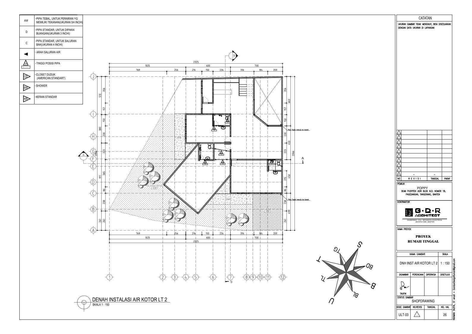 Jasa Desain Rumah Contoh Paket Gambar Kerja 26 DENAH INSTALASI AIR KOTOR LT 2