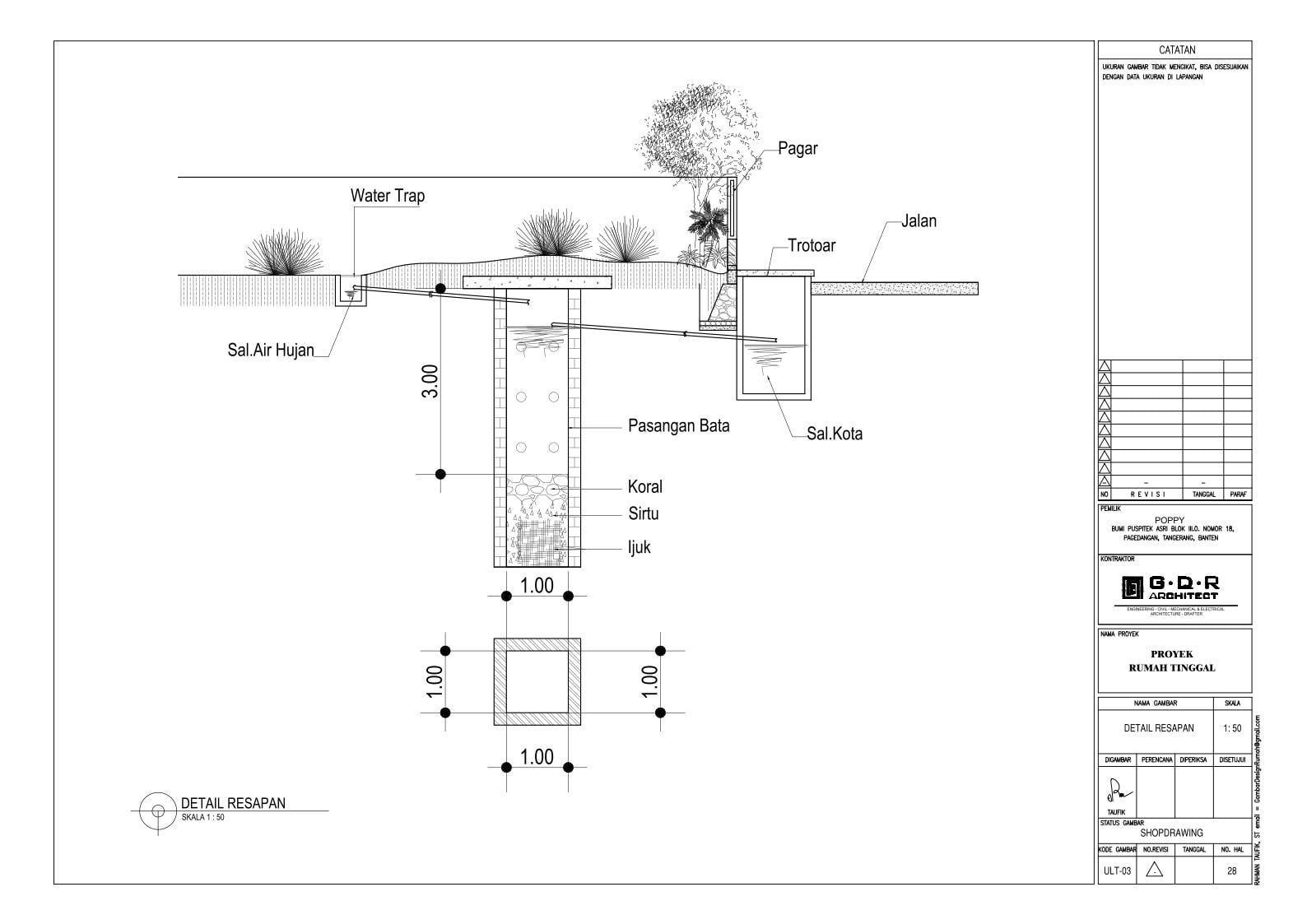 Jasa Desain Rumah Contoh Paket Gambar Kerja 28 DETAIL RESAPAN