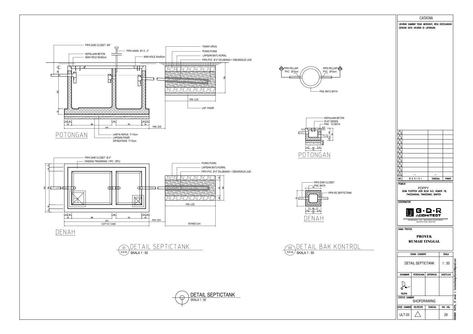 Jasa Desain Rumah Contoh Paket Gambar Kerja 29 DETAIL SEPTICTANK