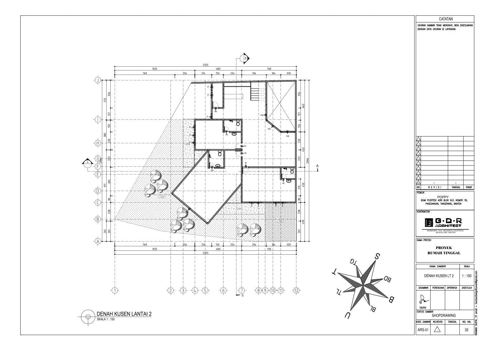 Jasa Desain Rumah Contoh Paket Gambar Kerja 32 DENAH KUSEN LANTAI 2