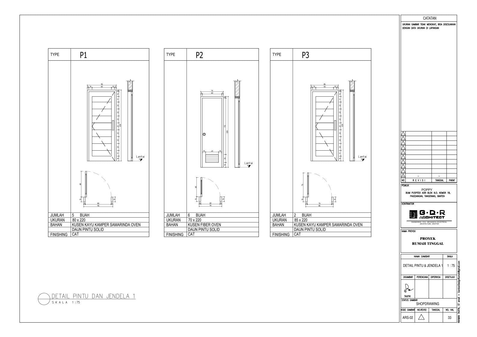 Jasa Desain Rumah Contoh Paket Gambar Kerja 33 DETAIL PINTU DAN JENDELA 1