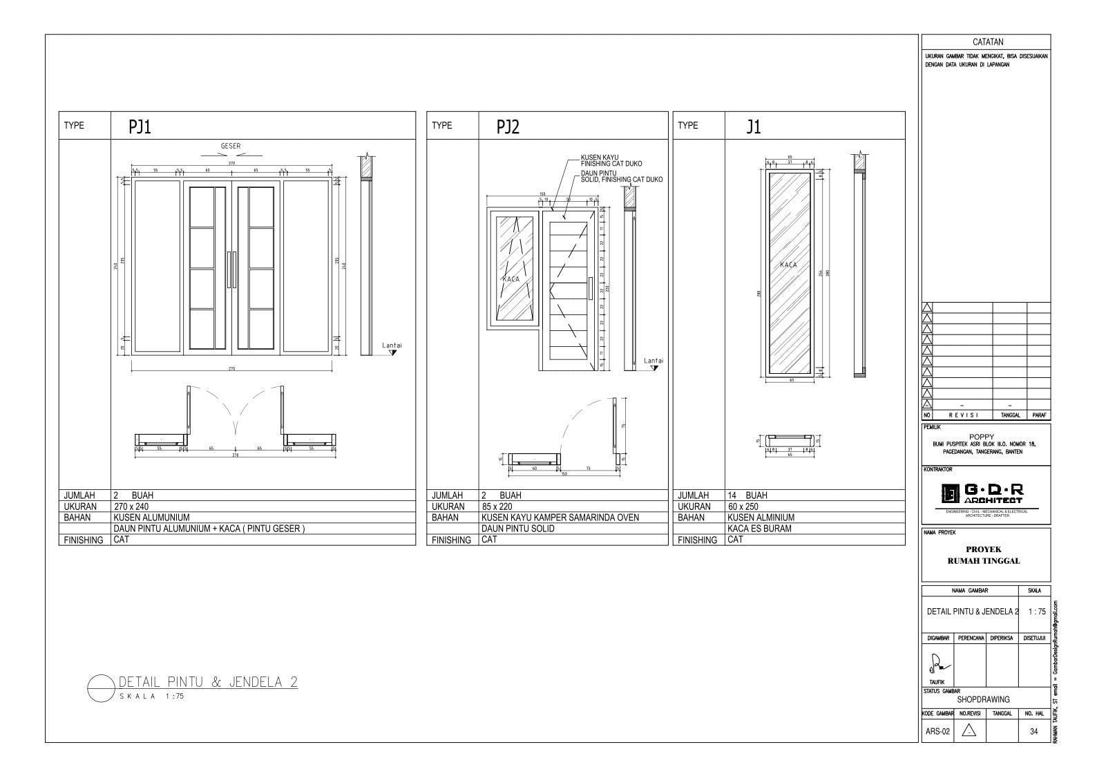 Jasa Desain Rumah Contoh Paket Gambar Kerja 34 DETAIL PINTU DAN JENDELA 2
