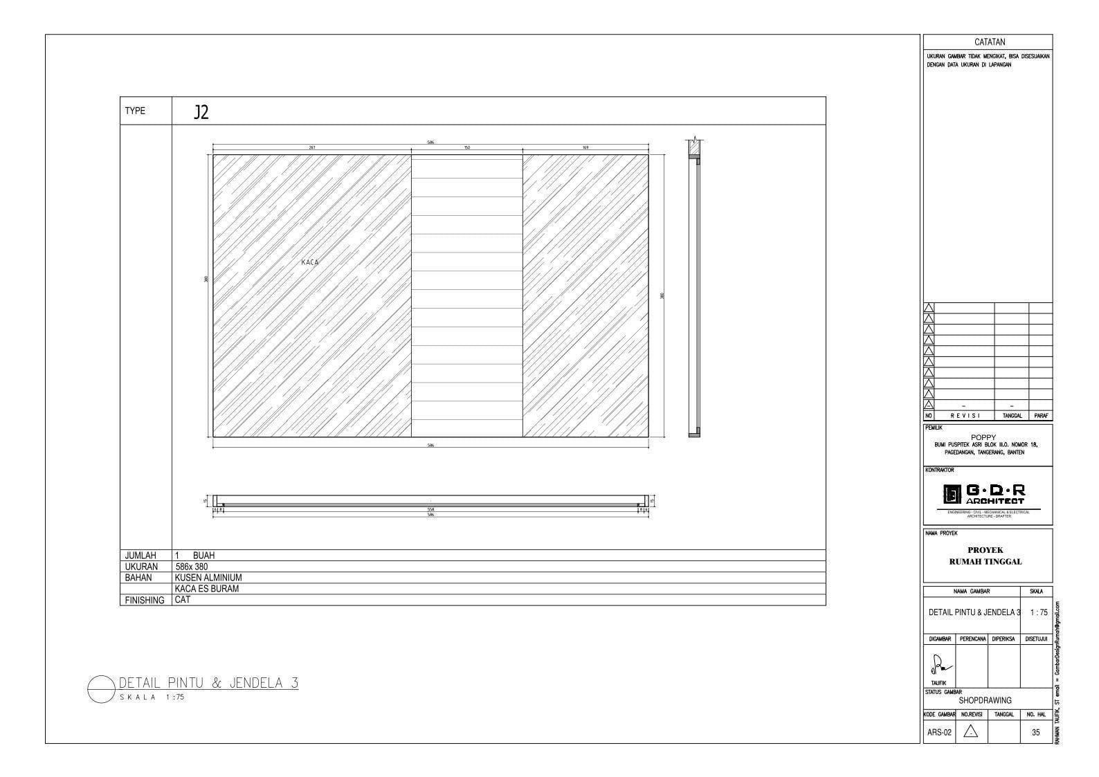 Jasa Desain Rumah Contoh Paket Gambar Kerja 35 DETAIL PINTU DAN JENDELA 3