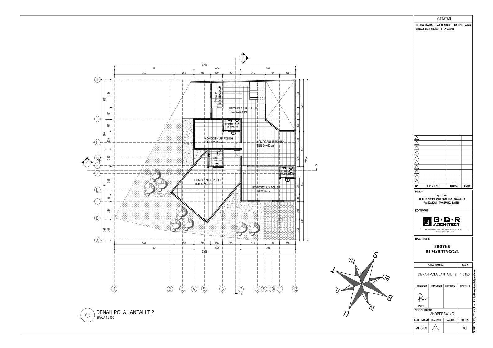 Jasa Desain Rumah Contoh Paket Gambar Kerja 39 DENAH POLA LANTAI LT 2