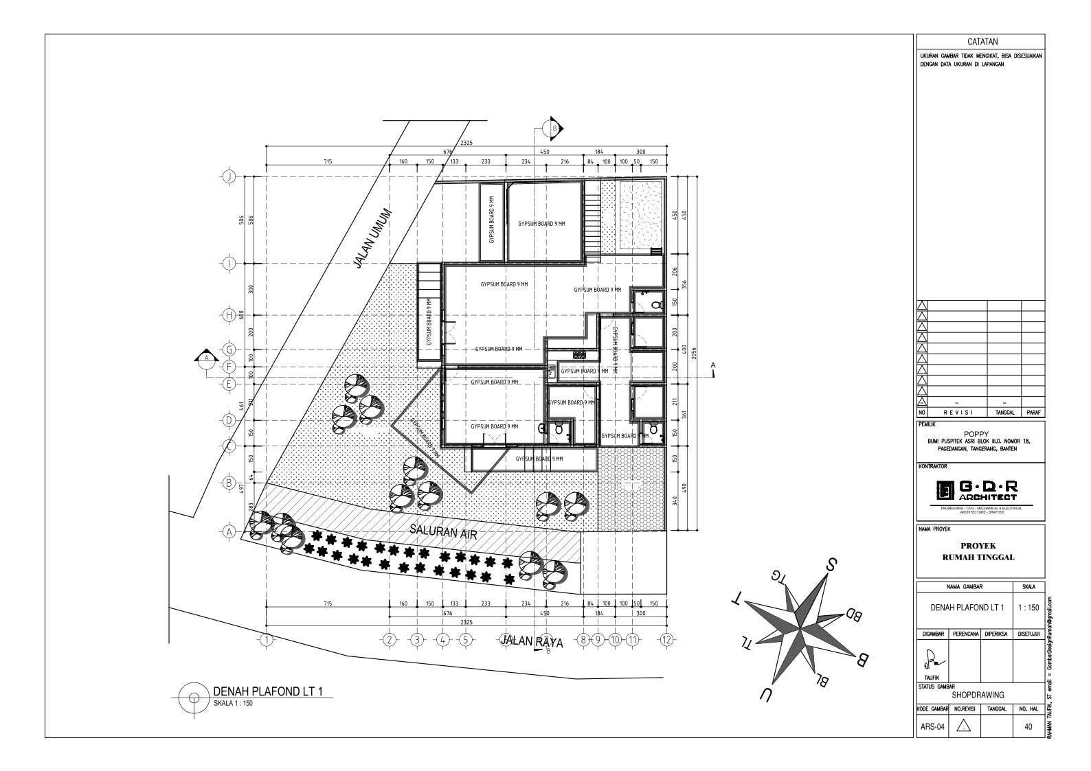 Jasa Desain Rumah Contoh Paket Gambar Kerja 40 DENAH PLAFOND LT 1