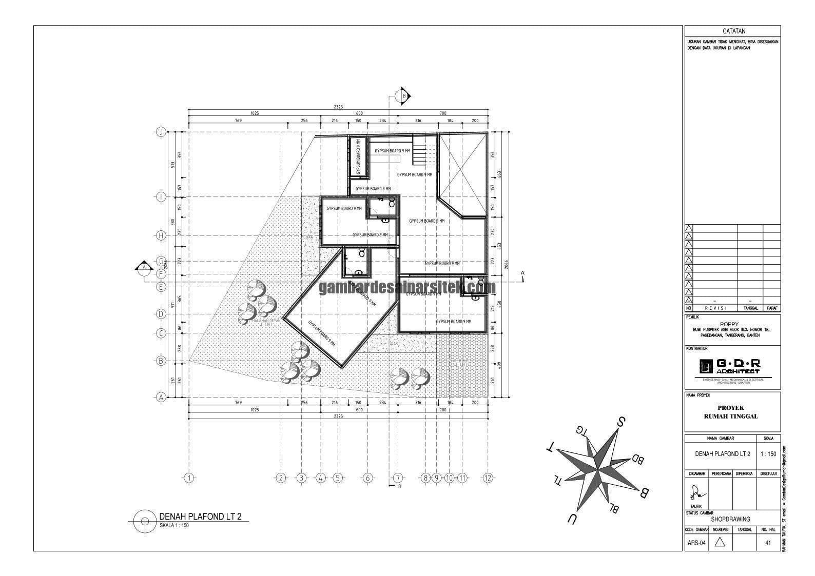 Jasa Desain Rumah Contoh Paket Gambar Kerja 41 DENAH PLAFOND LT 2