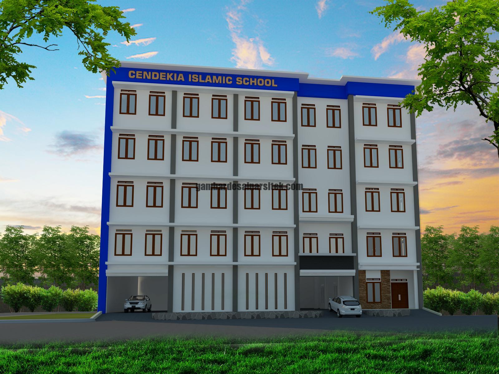 Contoh Desain 3D dan RAB Sekolah 5 Lantai dan Masjid 2