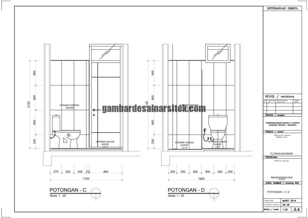 Gambar Kerja 2D Rumah 2 Lantai Tropis POTONGAN 1 3