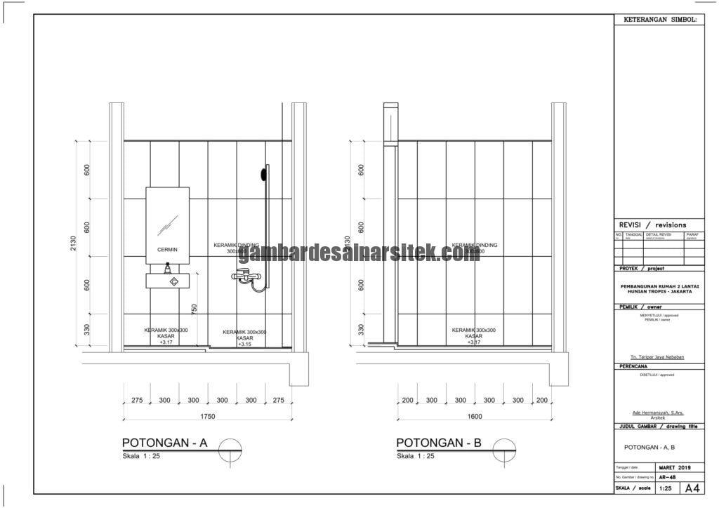 Gambar Kerja 2D Rumah 2 Lantai Tropis POTONGAN 1 4