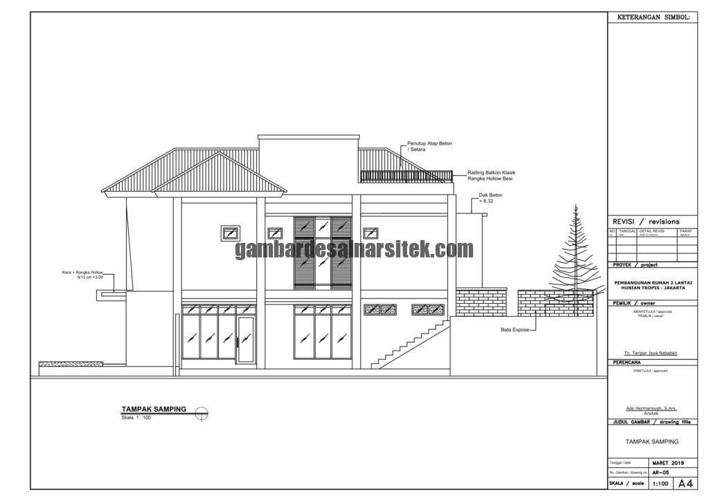 Gambar Kerja 2D Rumah 2 Lantai Tropis TAMPAK SAMPING 1