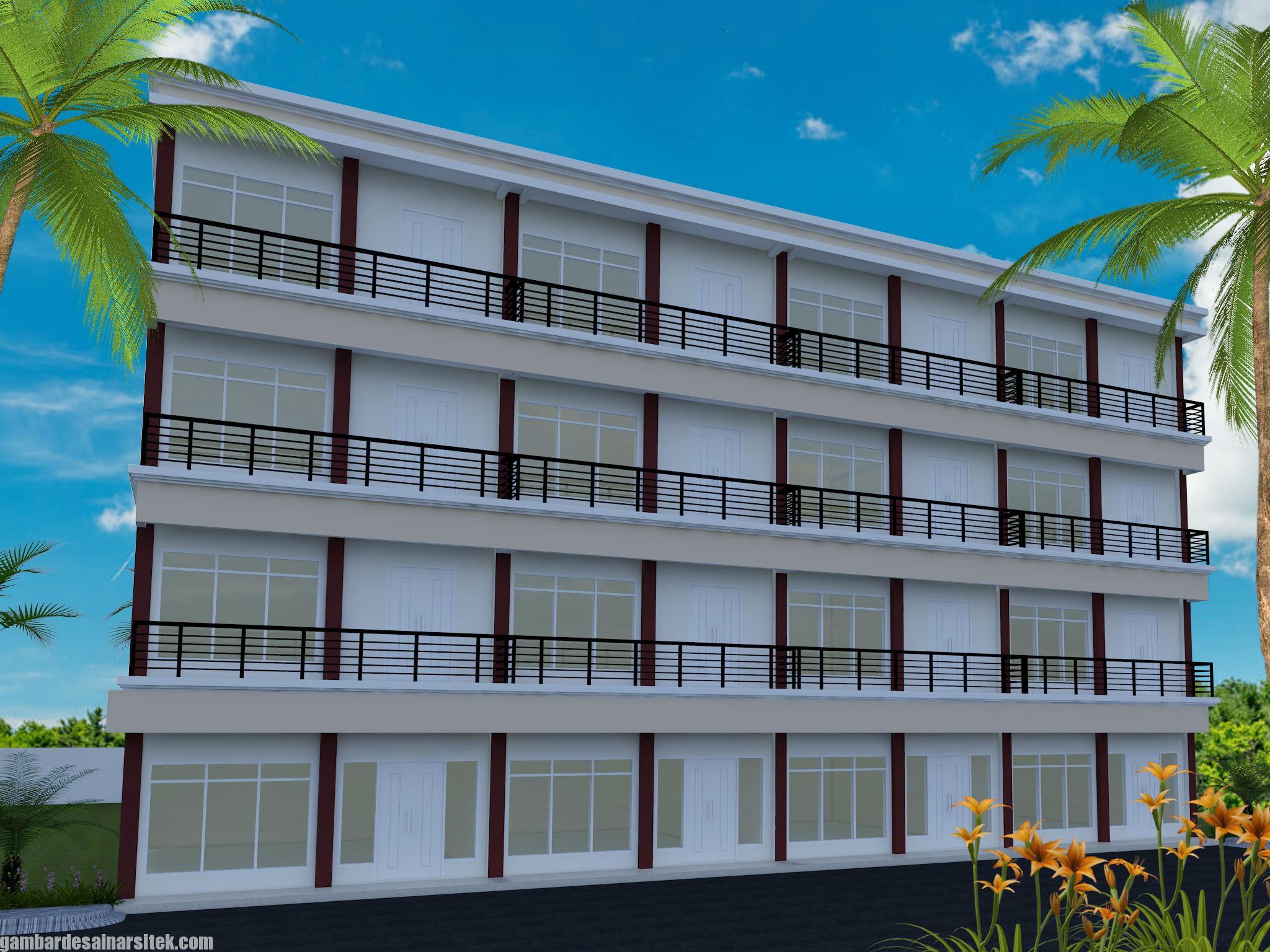 Desain Rumah Kost Minimalis 4 Lantai (1)
