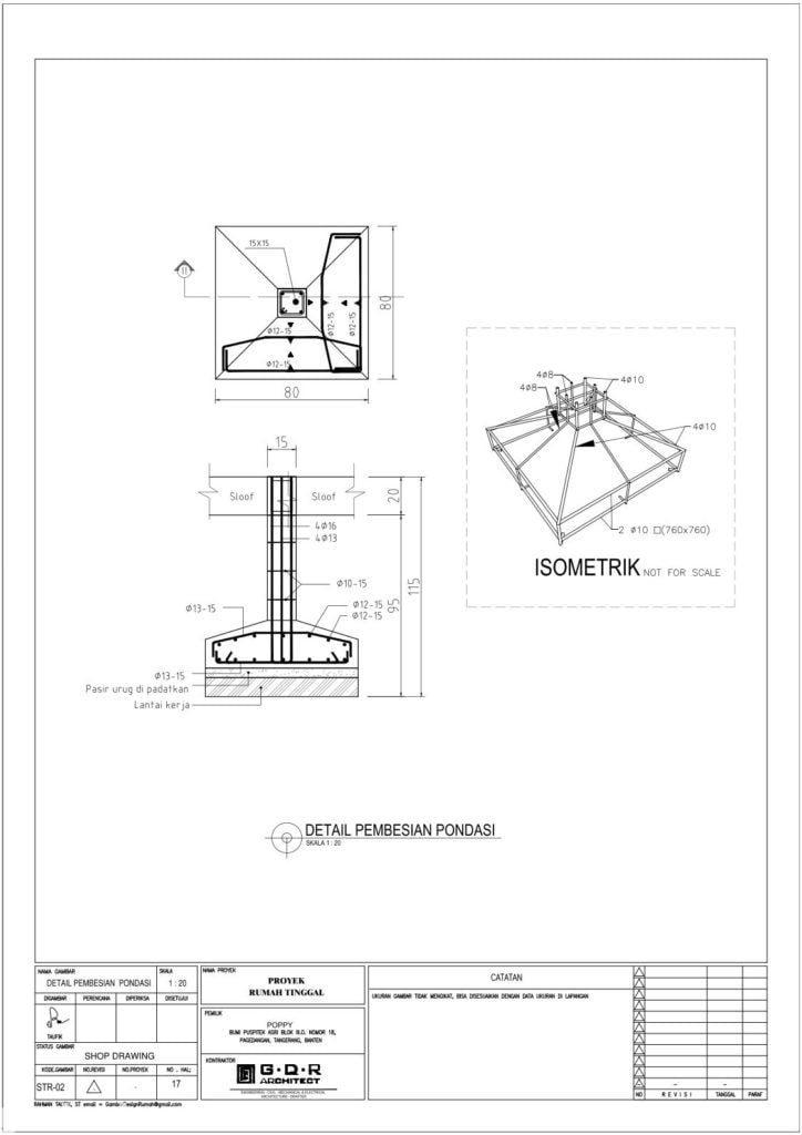 Jasa Desain Rumah Contoh Paket Gambar Kerja 17 DETAIL PEMBESIAN PONDASI