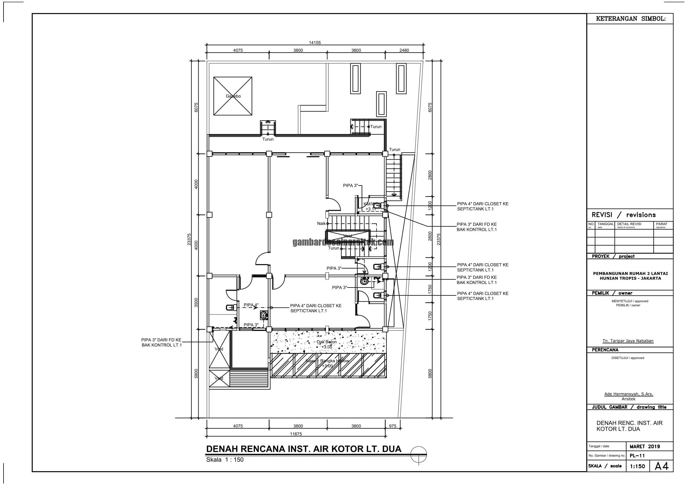 Gambar Kerja 2D Rumah 2 Lantai Tropis INSTALASI AIR KOTOR 2 1