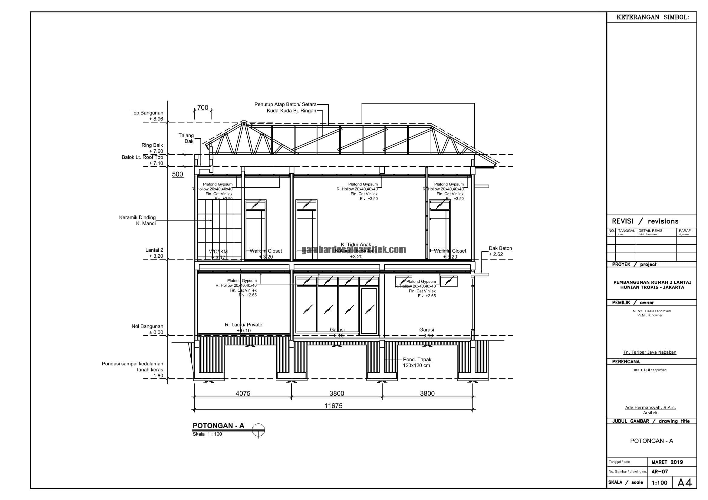 Gambar Kerja 2D Rumah 2 Lantai Tropis POTONGA A 1