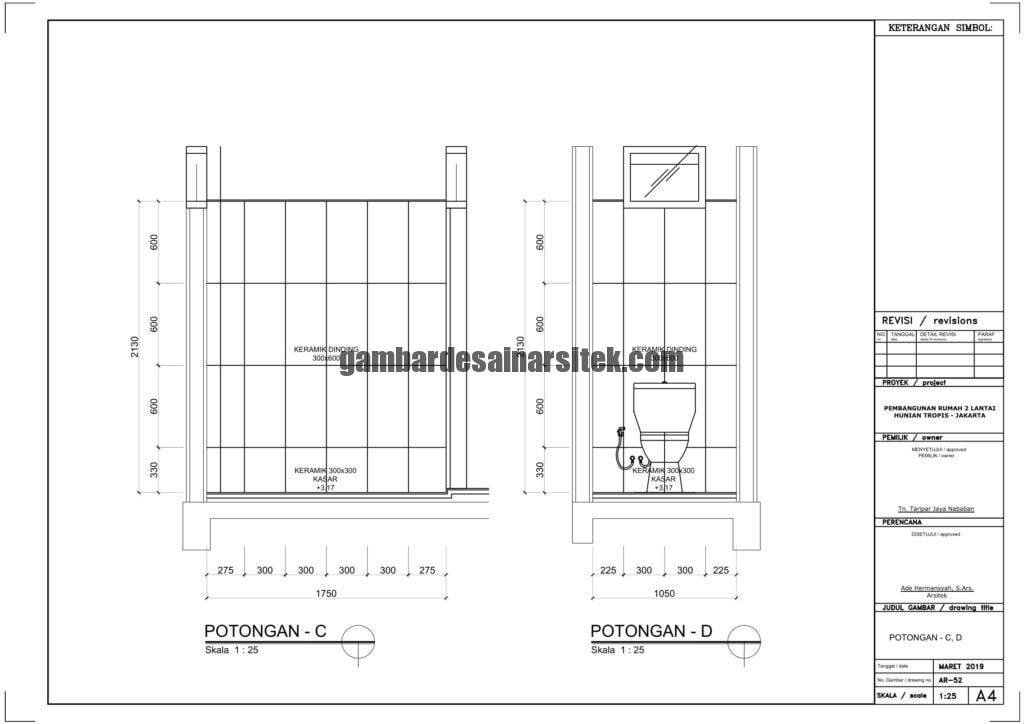 Gambar Kerja 2D Rumah 2 Lantai Tropis POTONGAN CD 1