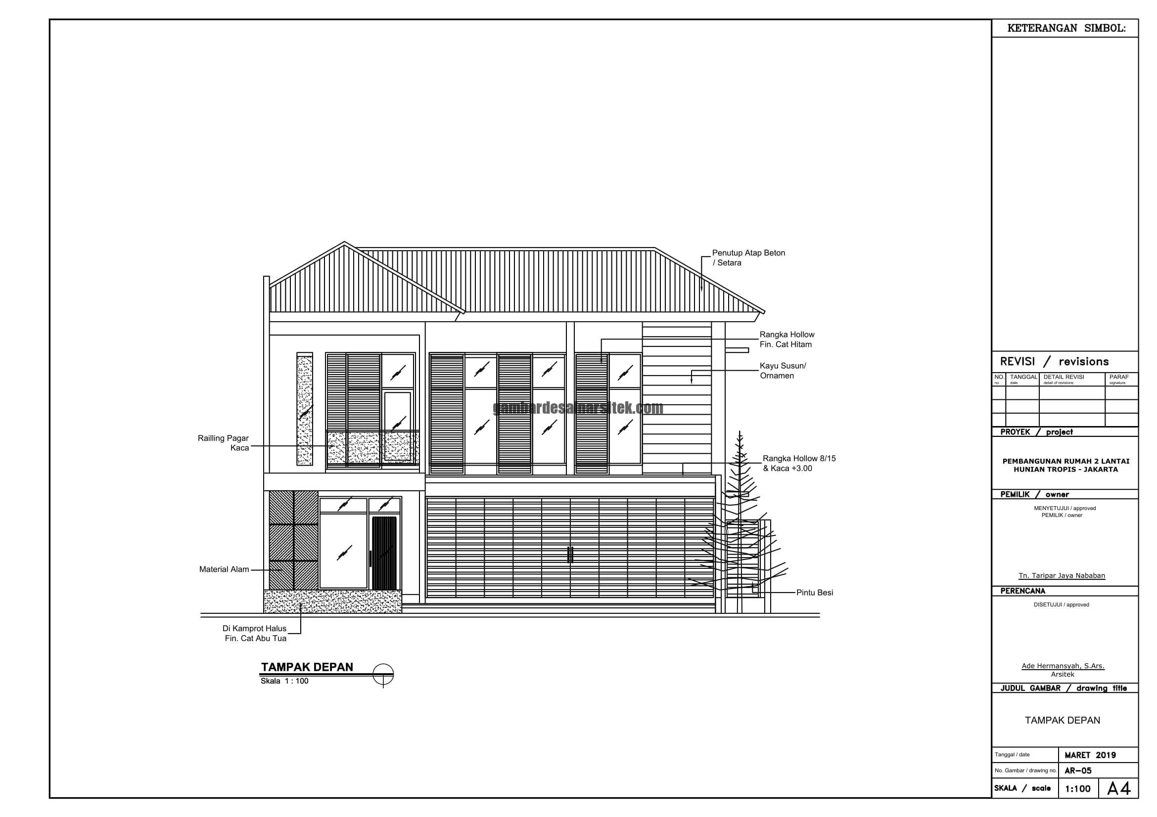 Gambar Kerja 2D Rumah 2 Lantai Tropis TAMPAK DEPAN 1