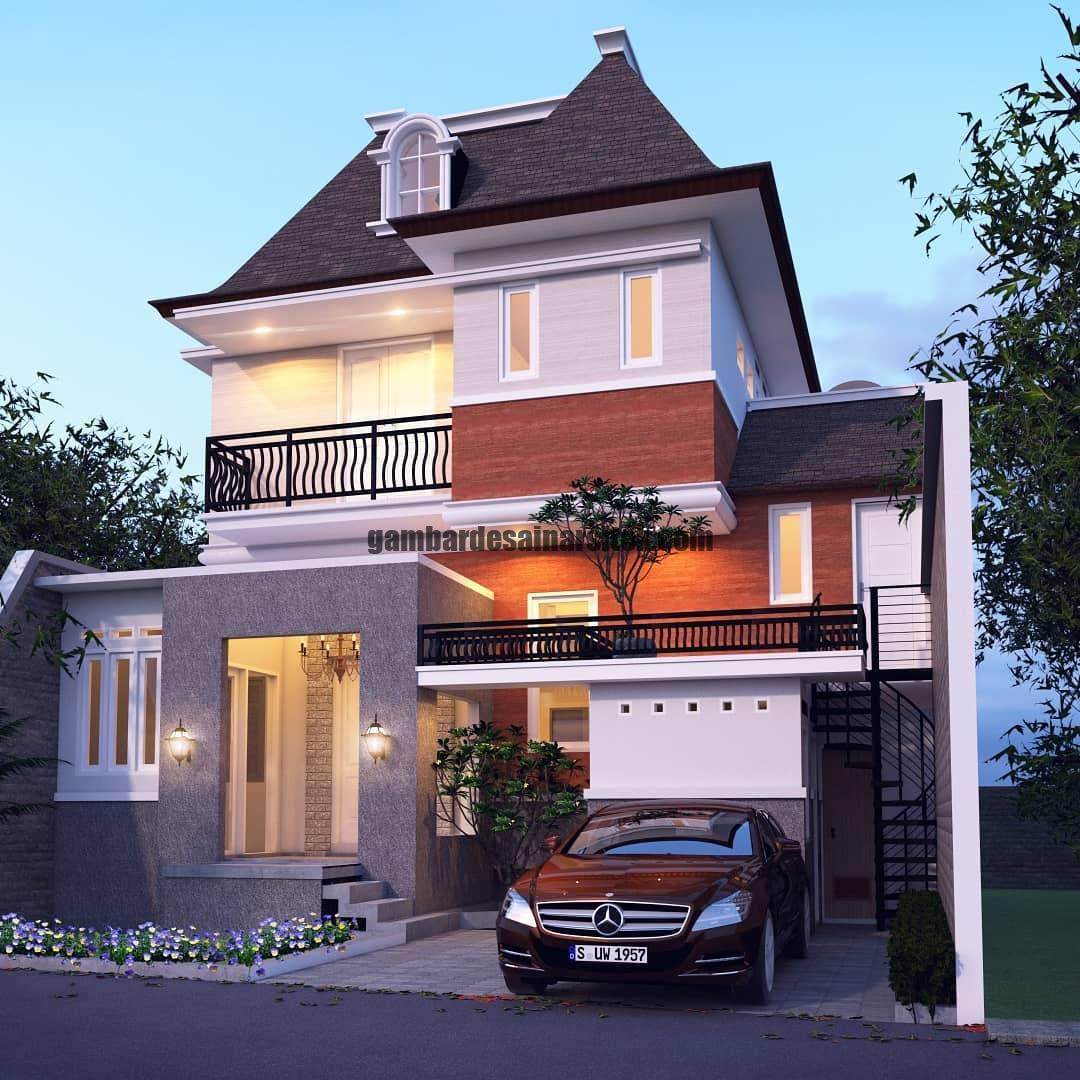 Rumah Mewah Mansard Eropa Klasik dengan Jendela di Atap 1