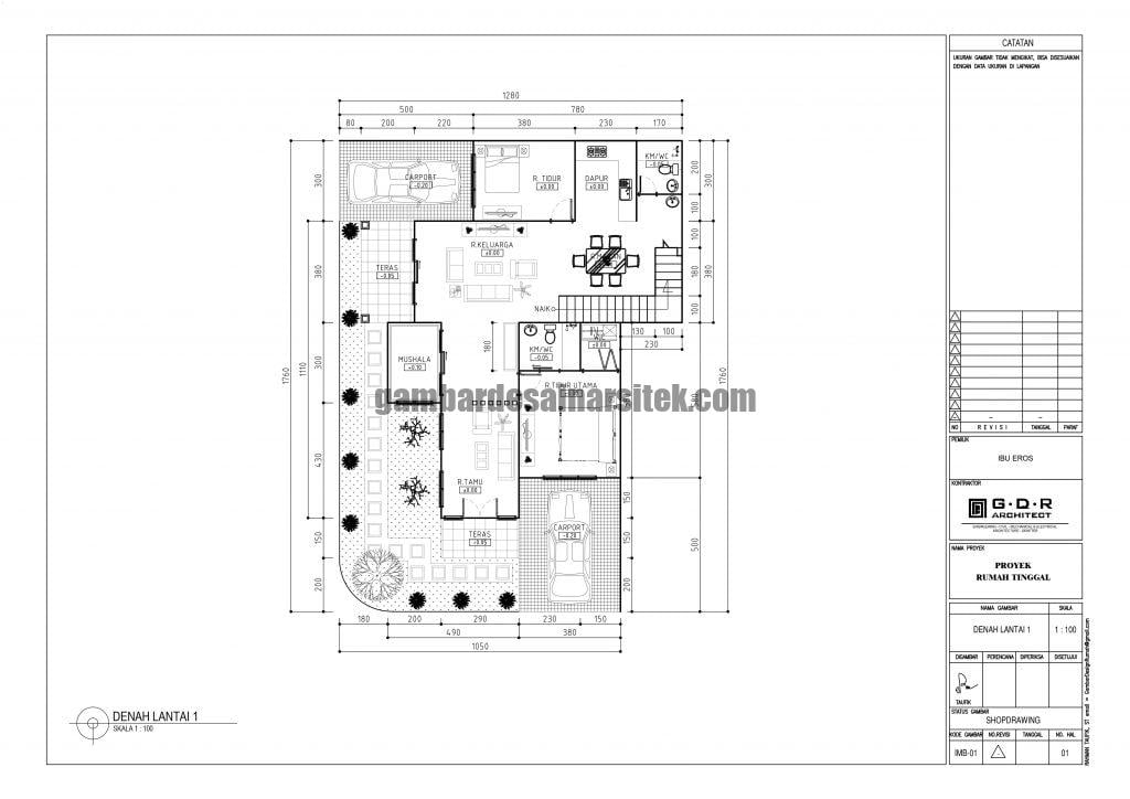 Denah Rumah Lantai 1 Ukuran Tanah 13 x 18 Meter 2