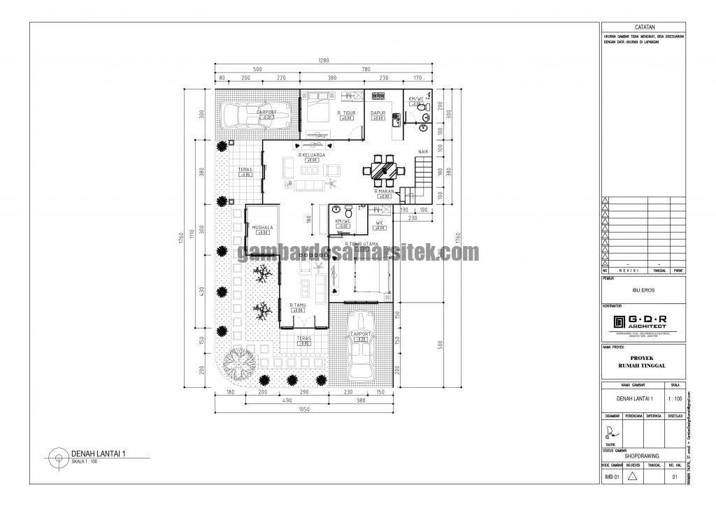 Denah Rumah Lantai 1 Ukuran Tanah 13 x 18 Meter 4