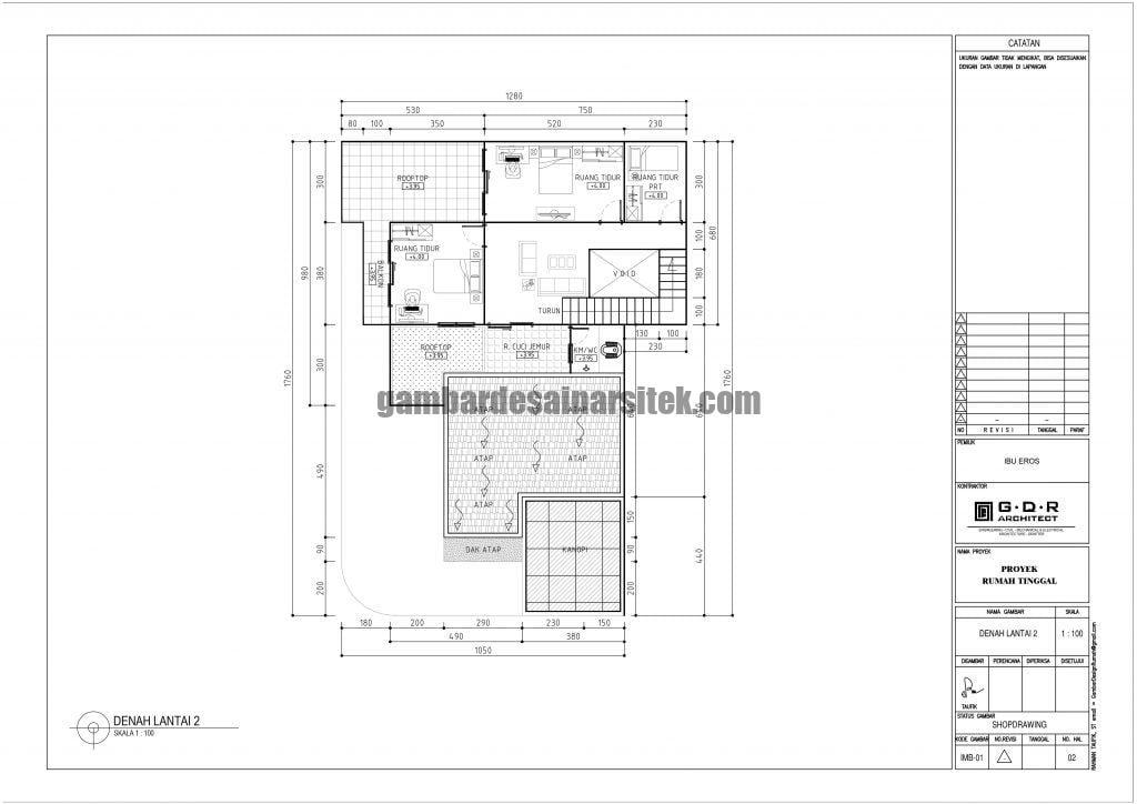 Denah Rumah Lantai 2 Ukuran Tanah 13 x 18 Meter 1