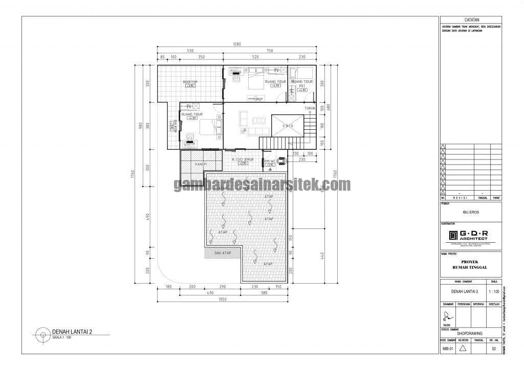 Denah Rumah Lantai 2 Ukuran Tanah 13 x 18 Meter 2