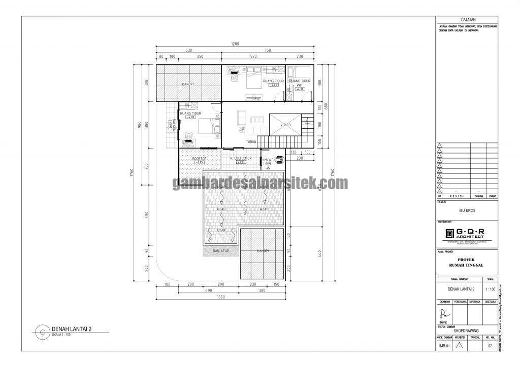 Denah Rumah Lantai 2 Ukuran Tanah 13 x 18 Meter 3