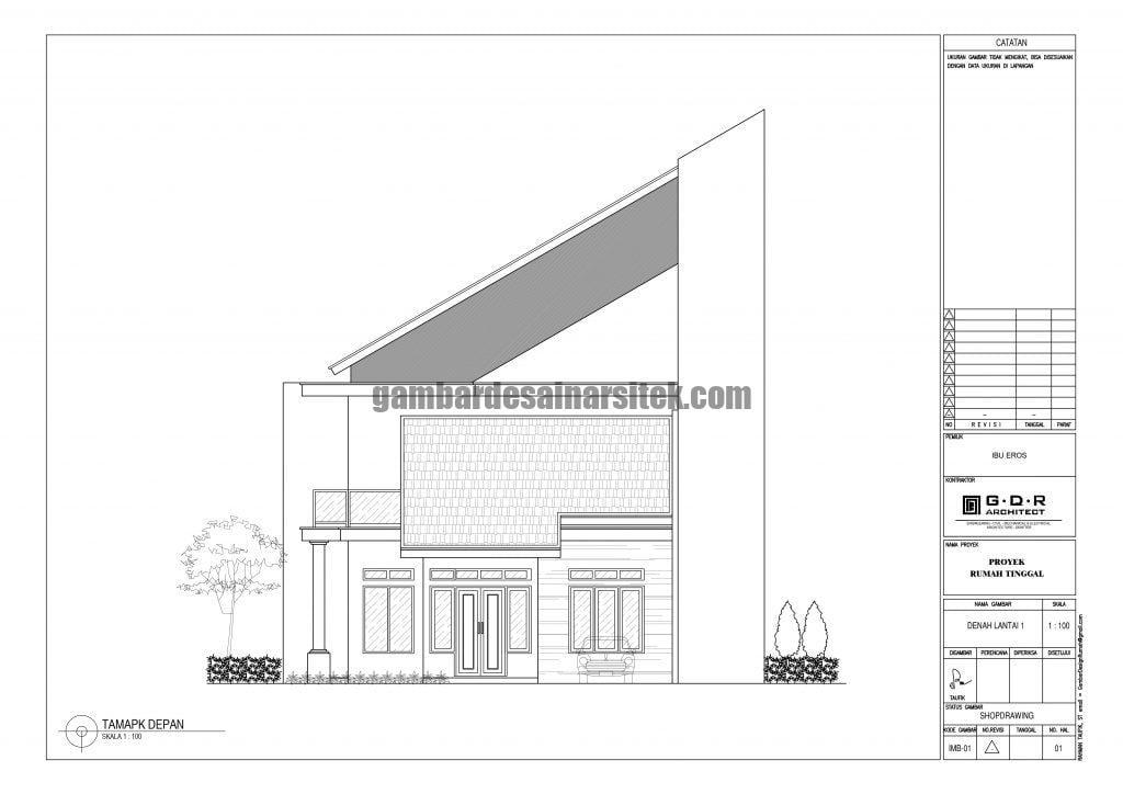 Tampak Depan 2D Rumah Minimalis dengan Atap Miring