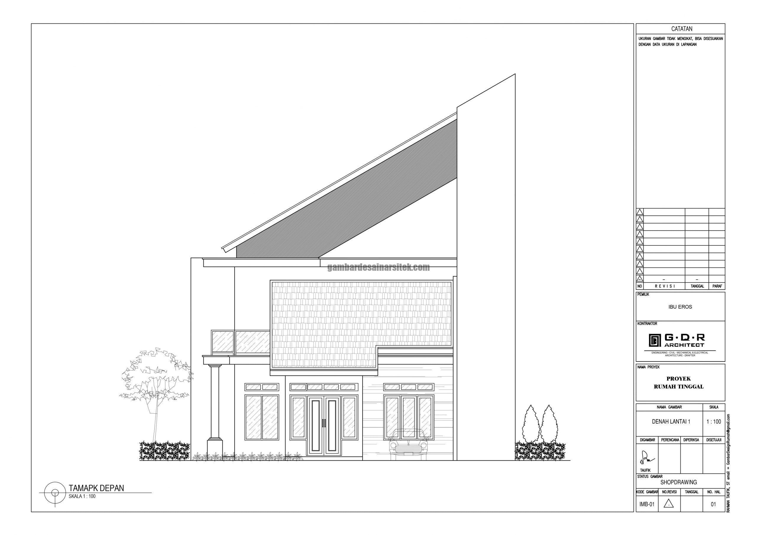 Tampak Depan 2D Rumah Minimalis dengan Atap Miring scaled