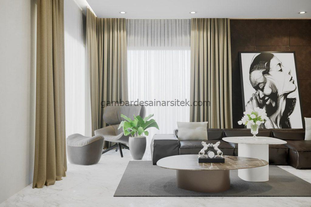 Contoh Desain Interior Neo Classic Living Room 3D 1