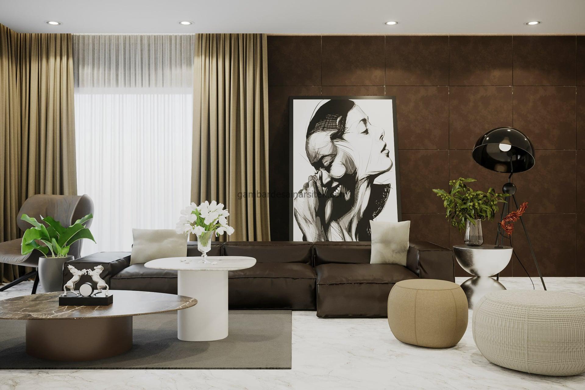 Contoh Desain Interior Neo Classic Living Room 3D 2