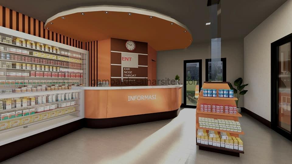 Desain Interior Apotek Modern Nuansa Oranye 1
