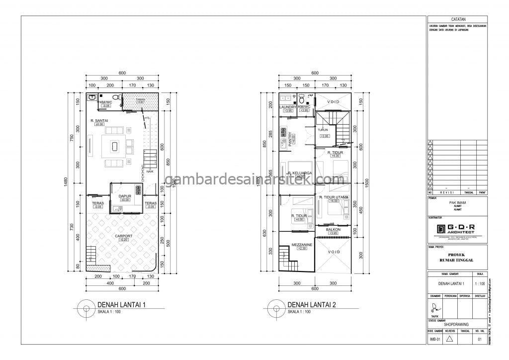 Gambar Denah Rumah 6x15 Versi Gambar Kerja