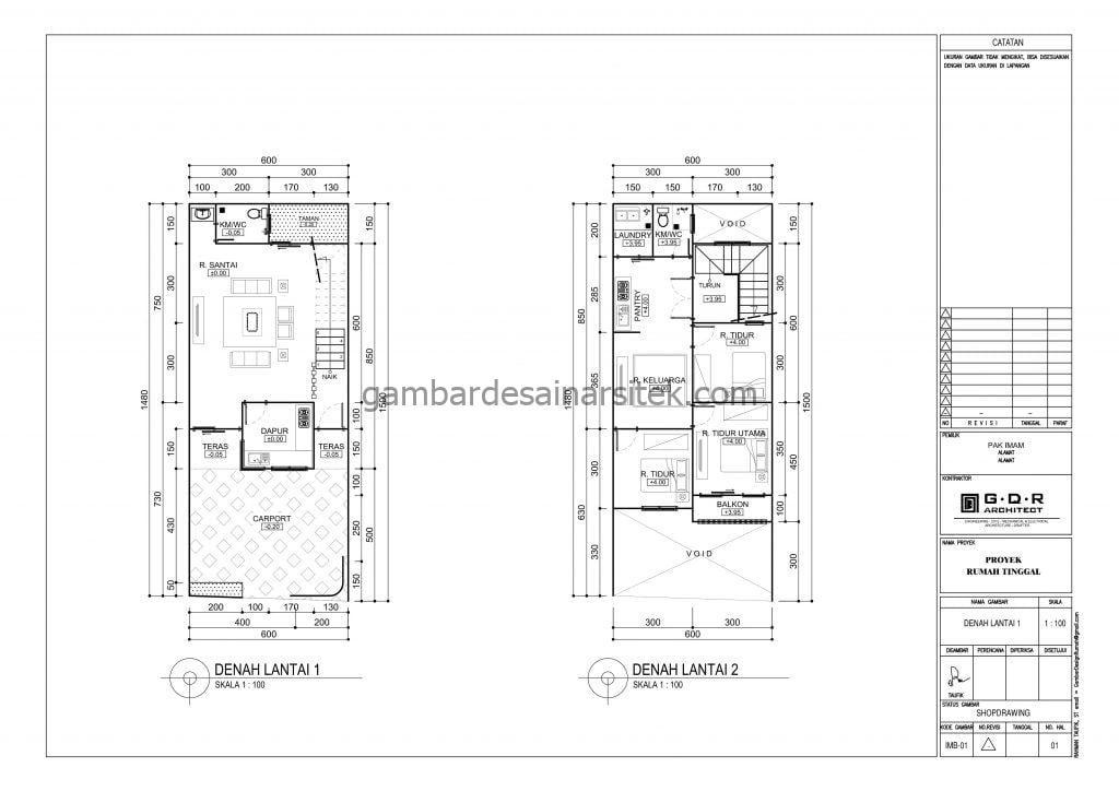 Gambar Denah Rumah 6x15 Versi IMB