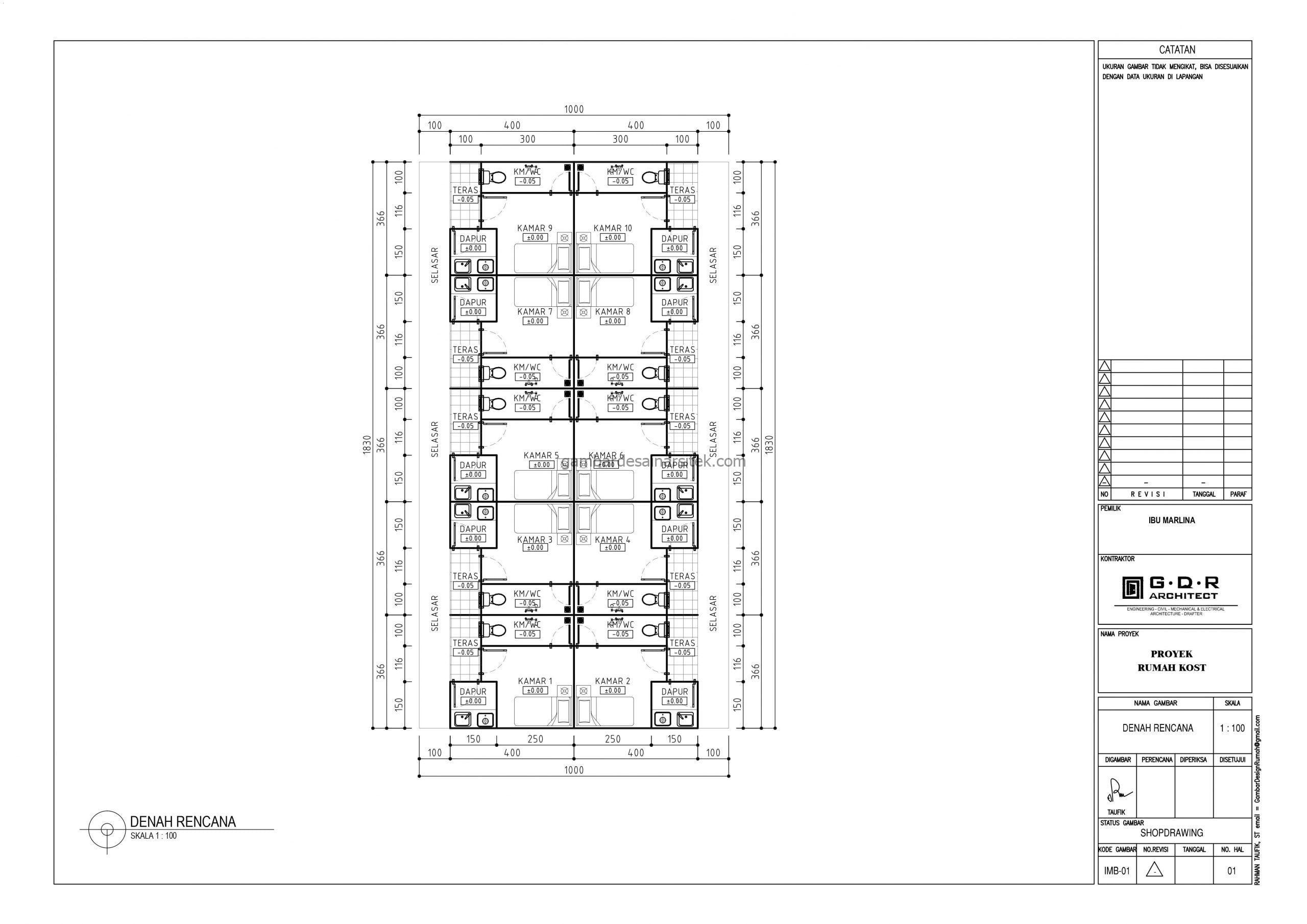 Gambar Denah Rumah Kos 18x10 1 scaled
