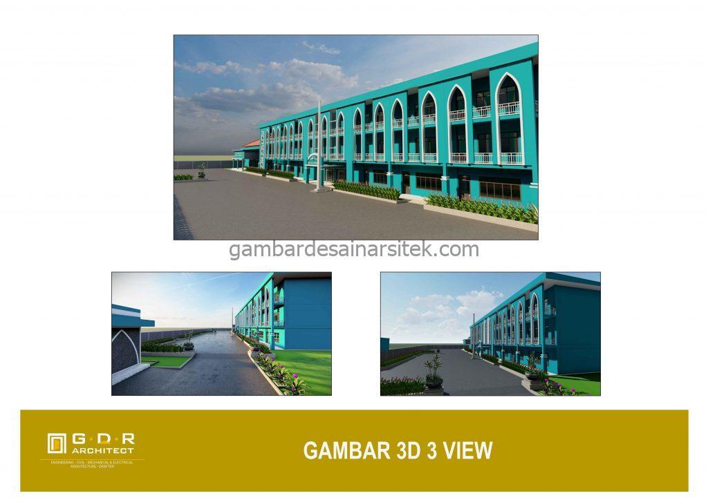 3D Gambar Desain Bangunan Sekolah Boarding School 2