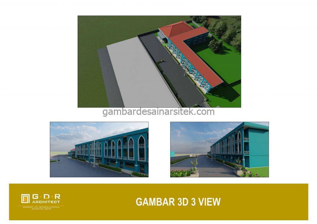 3D Gambar Desain Bangunan Sekolah Boarding School 3