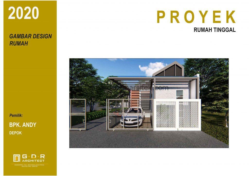 3D Gambar Desain Rumah 1 Lantai Industrial Modern 1