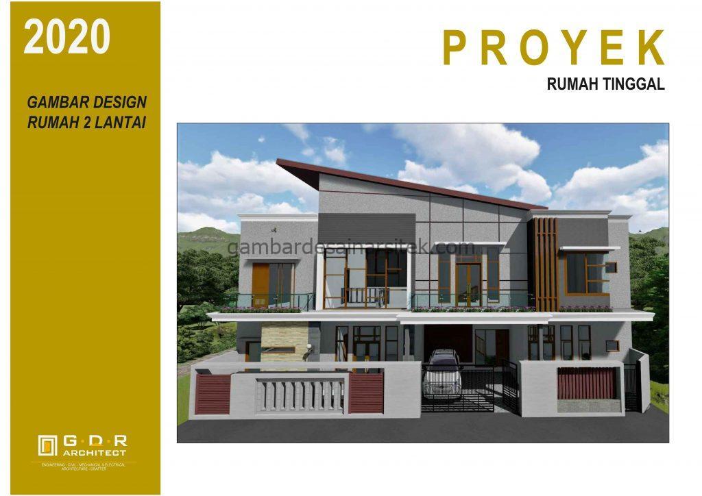 3D Gambar Desain Rumah 2 Lantai Atap Panel Surya 1