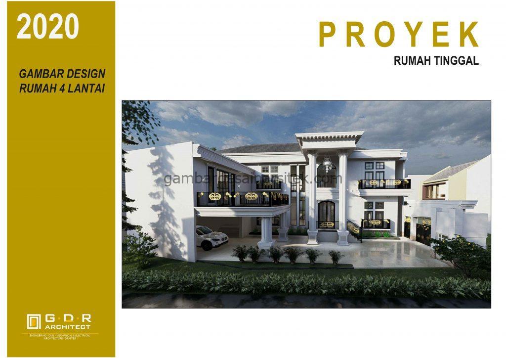 3D Gambar Desain Rumah 4 Lantai Mewah Mediterania 1