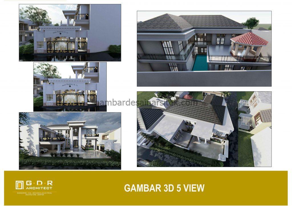 3D Gambar Desain Rumah 4 Lantai Mewah Mediterania 2